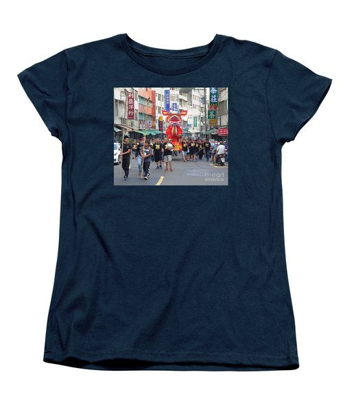 Women's T-Shirt (Standard Cut) featuring the photograph The Fire Lion Procession In Southern Taiwan by Yali Shi