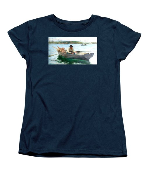 Women's T-Shirt (Standard Cut) featuring the painting The Fisherman by Henry Scott Tuke