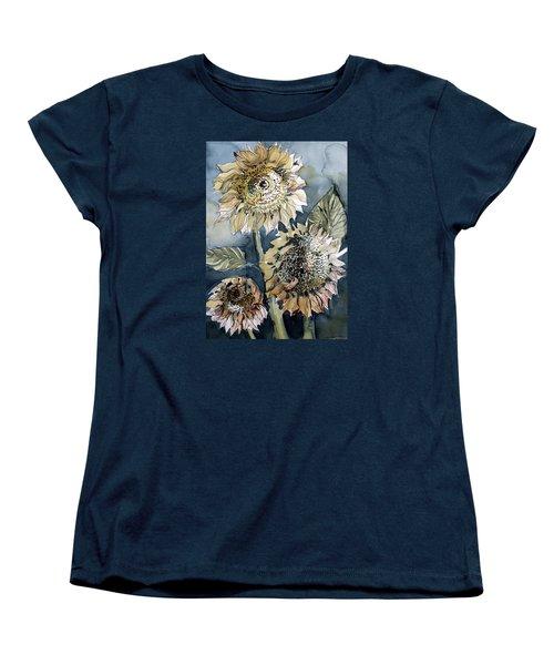 Three Sunflowers Women's T-Shirt (Standard Cut) by Mindy Newman