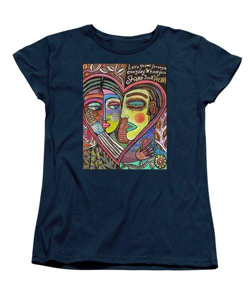 Tree Of Life Heart Lovers Women's T-Shirt (Standard Cut) by Sandra Silberzweig