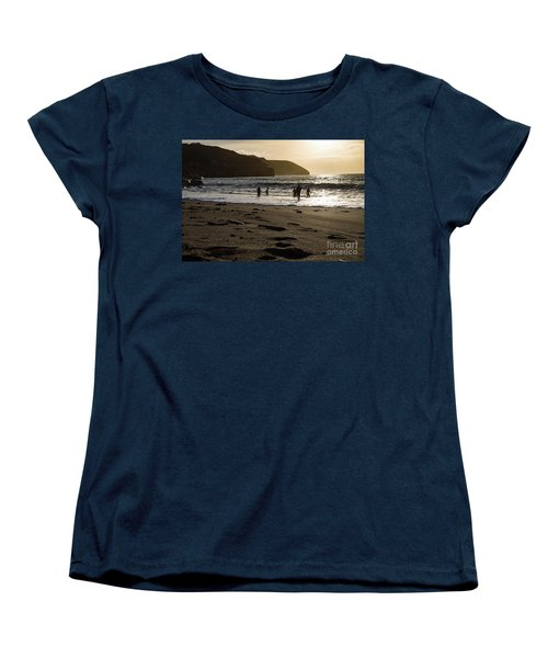 Women's T-Shirt (Standard Cut) featuring the photograph Photographs Of Cornwall Trevellas Cove Cornwall by Brian Roscorla