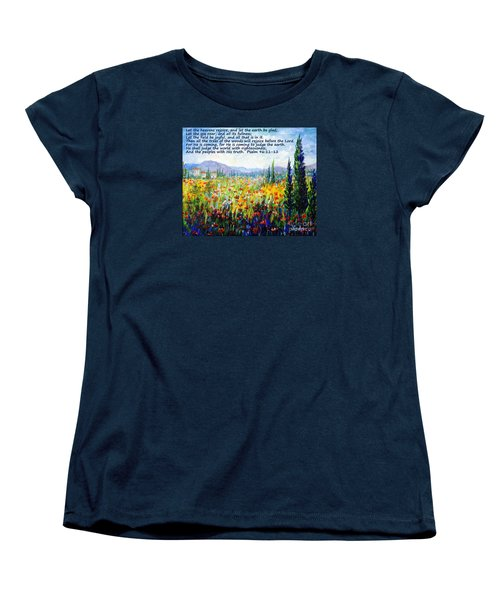 Women's T-Shirt (Standard Cut) featuring the painting Tuscany Fields With Scripture by Lou Ann Bagnall