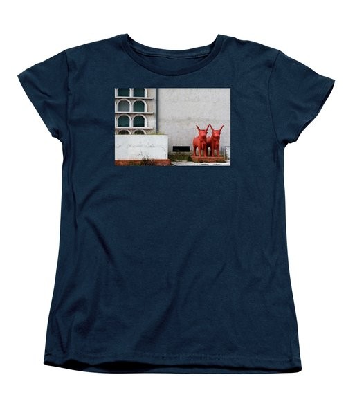 Two Orange Bulls Women's T-Shirt (Standard Cut) by Lorraine Devon Wilke