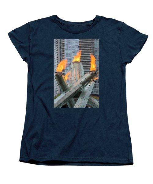 Vancouver Olympic Cauldron Women's T-Shirt (Standard Cut) by Ross G Strachan