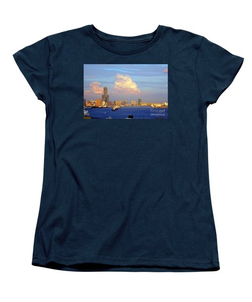 Women's T-Shirt (Standard Cut) featuring the photograph View Of Kaohsiung City At Sunset Time by Yali Shi