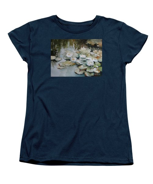Women's T-Shirt (Standard Cut) featuring the painting Waterlilies by Elena Oleniuc