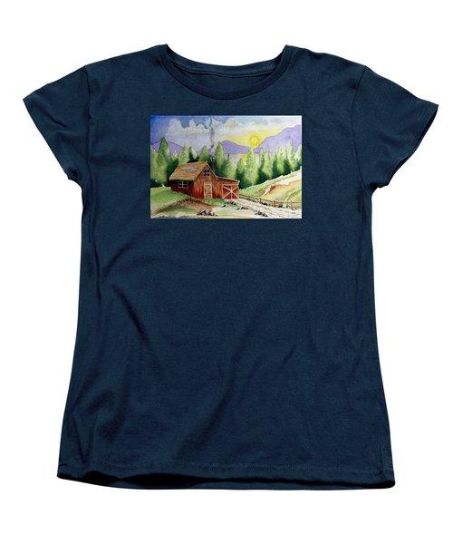 Wilderness Cabin Women's T-Shirt (Standard Cut) by Jimmy Smith