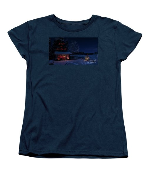 Women's T-Shirt (Standard Cut) featuring the photograph Winter Night Greetings In Swedish by Torbjorn Swenelius