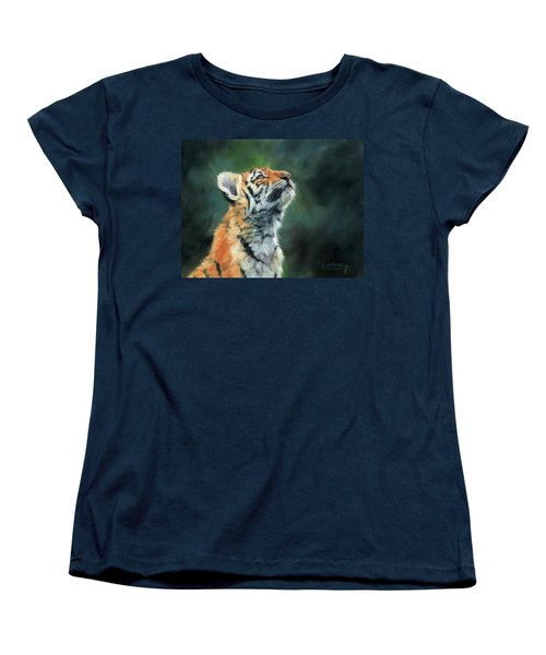 Women's T-Shirt (Standard Cut) featuring the painting Young Amur Tiger by David Stribbling