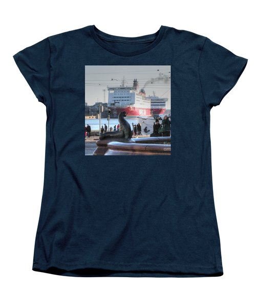 Women's T-Shirt (Standard Cut) featuring the pyrography Yury Bashkin Helsinki Finland by Yury Bashkin