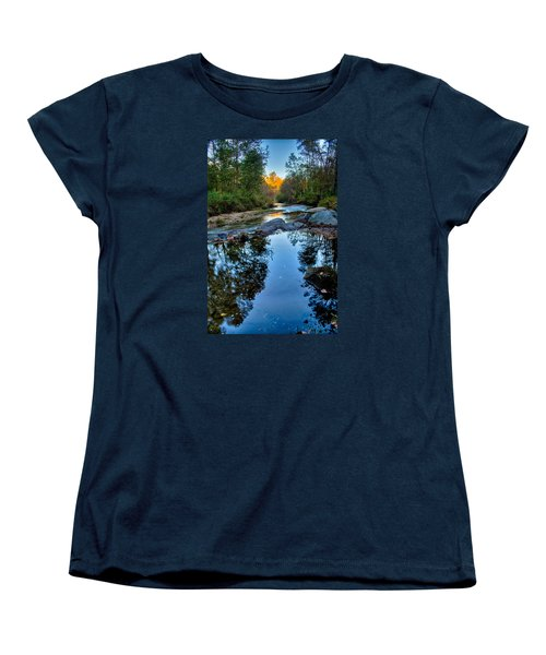 Stone Mountain North Carolina Scenery During Autumn Season Women's T-Shirt (Standard Cut) by Alex Grichenko