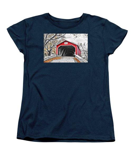 Women's T-Shirt (Standard Cut) featuring the photograph 1839 Kreidersville Bridge by DJ Florek