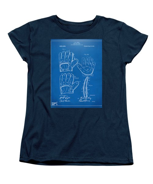 1910 Baseball Glove Patent Artwork Blueprint Women's T-Shirt (Standard Cut) by Nikki Marie Smith