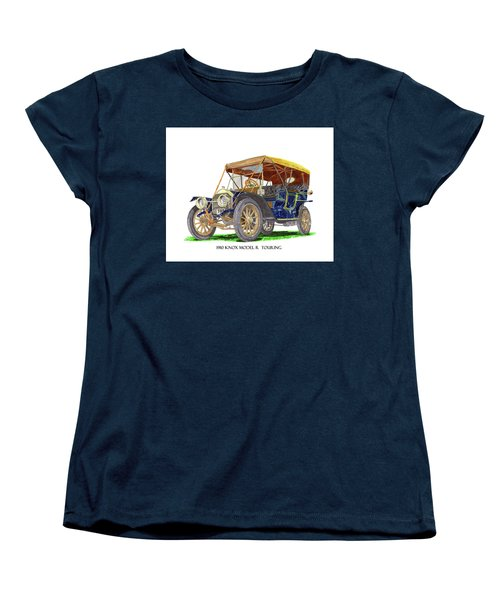 Women's T-Shirt (Standard Cut) featuring the painting 1910 Knox Model R 5 Passenger  Touring Automobile by Jack Pumphrey