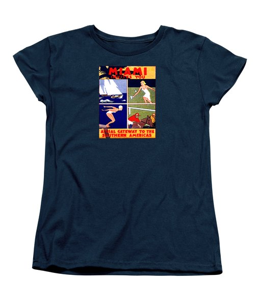 1925 Miami Travel Poster Women's T-Shirt (Standard Cut) by Historic Image