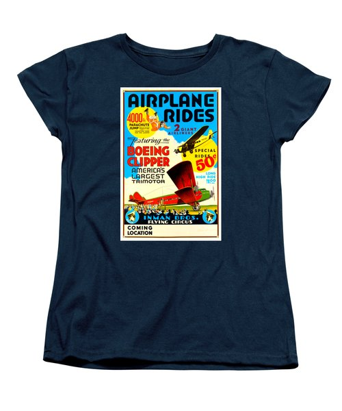 1929 Boeing Clipper Vintage Flying Circus Poster Women's T-Shirt (Standard Cut) by Peter Gumaer Ogden Collection