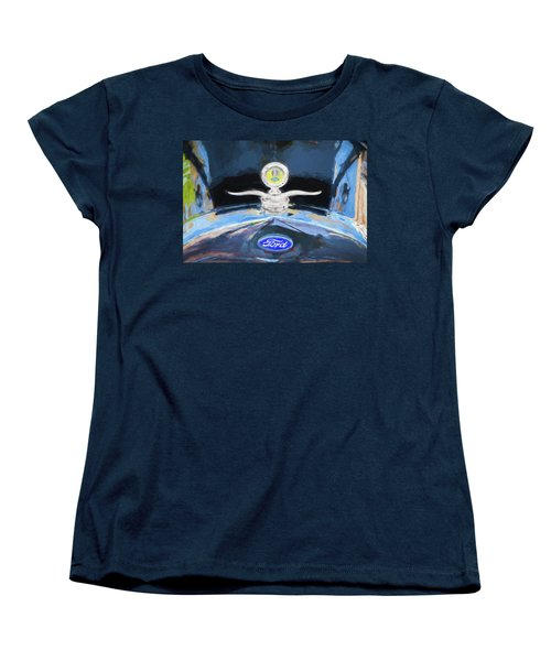 1929 Ford Model A Hood Ornament Painted Women's T-Shirt (Standard Cut) by Rich Franco