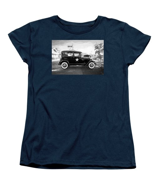 Women's T-Shirt (Standard Cut) featuring the photograph 1929 Ford Model A Tudor Police Sedan Bw by Rich Franco