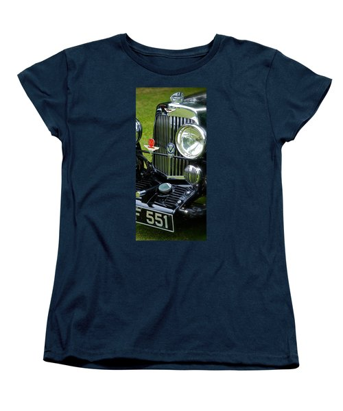 Women's T-Shirt (Standard Cut) featuring the photograph 1930s Aston Martin Front Grille Detail by John Colley