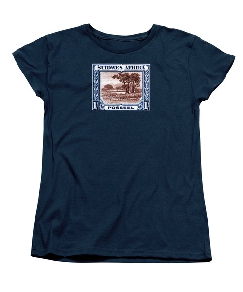 Women's T-Shirt (Standard Cut) featuring the painting 1931 South West African Landscape Stamp by Historic Image
