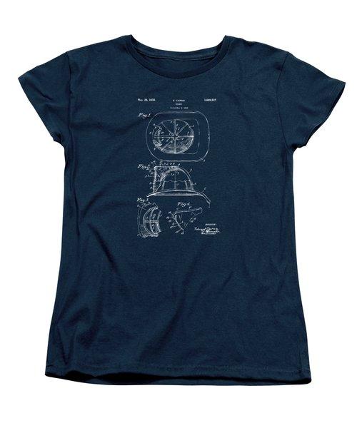 Women's T-Shirt (Standard Cut) featuring the drawing 1932 Fireman Helmet Artwork Blueprint by Nikki Marie Smith