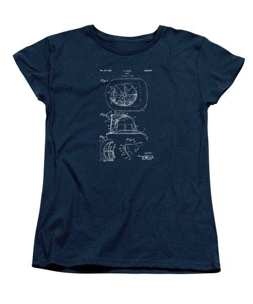 1932 Fireman Helmet Artwork - Gray Women's T-Shirt (Standard Cut) by Nikki Marie Smith
