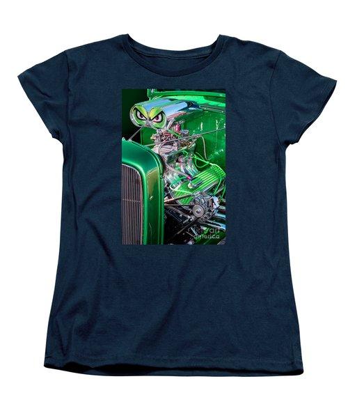 Women's T-Shirt (Standard Cut) featuring the photograph 1932 Green Ford Hot Rod Engine by Aloha Art