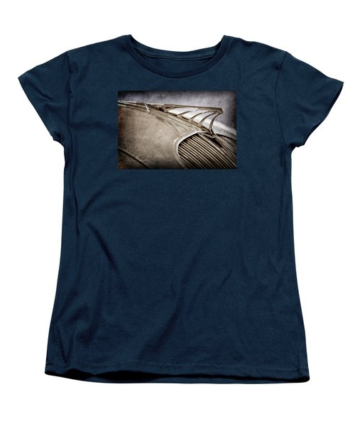 Women's T-Shirt (Standard Cut) featuring the photograph 1934 Desoto Airflow Coupe Hood Ornament -2404ac by Jill Reger