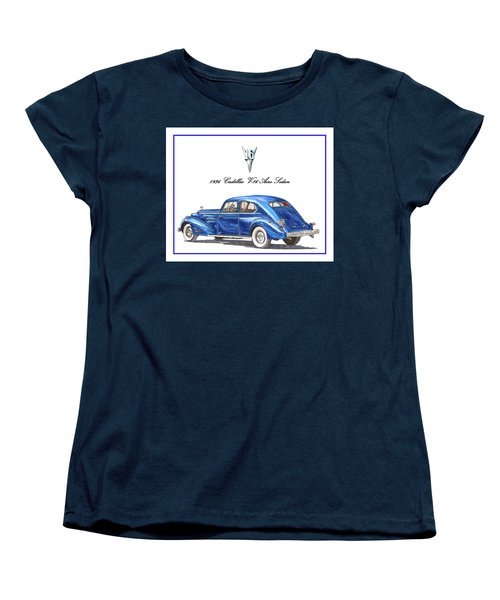 Women's T-Shirt (Standard Cut) featuring the painting 1936 Cadillac V-16 Aero Coupe by Jack Pumphrey