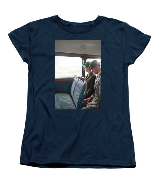 1940s Couple Sitting On A Vintage Bus Women's T-Shirt (Standard Cut) by Lee Avison