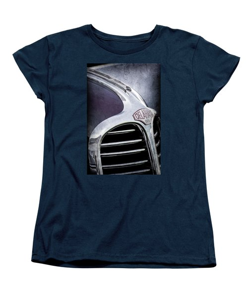 Women's T-Shirt (Standard Cut) featuring the photograph 1947 Delahaye Emblem -1477ac by Jill Reger
