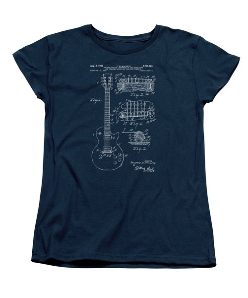 Women's T-Shirt (Standard Cut) featuring the drawing 1955 Mccarty Gibson Les Paul Guitar Patent Artwork Blueprint by Nikki Marie Smith