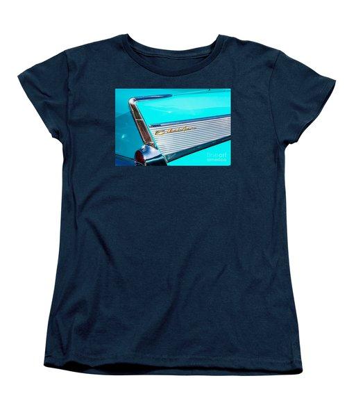 Women's T-Shirt (Standard Cut) featuring the photograph 1957 Chevy Bel Air Rear Fin by Aloha Art