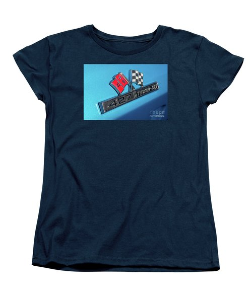 Women's T-Shirt (Standard Cut) featuring the photograph 1965 Blue Corvette 427 Turbo Jet Emblem by Aloha Art