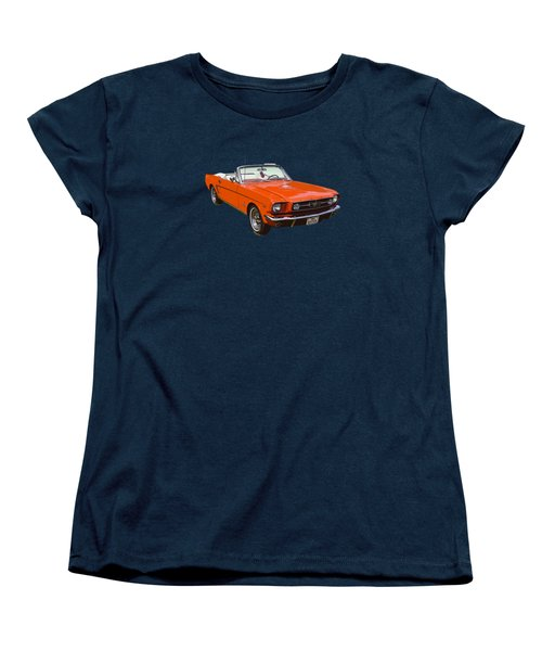 1965 Red Convertible Ford Mustang - Classic Car Women's T-Shirt (Standard Cut) by Keith Webber Jr
