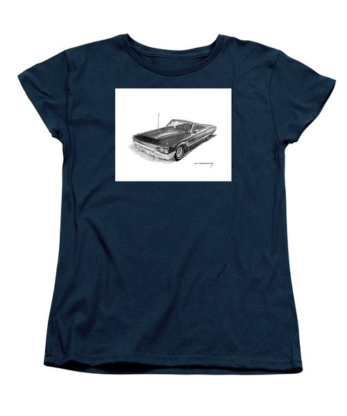 Women's T-Shirt (Standard Cut) featuring the drawing 1965 Thunderbird Convertible By Ford by Jack Pumphrey