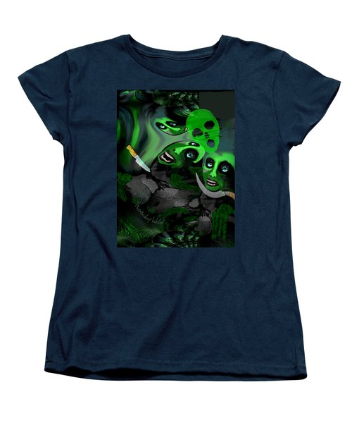 Women's T-Shirt (Standard Cut) featuring the digital art  1982 Violence And Fear 2017 by Irmgard Schoendorf Welch
