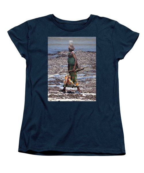 African Woman Collecting Shells 1 Women's T-Shirt (Standard Fit)