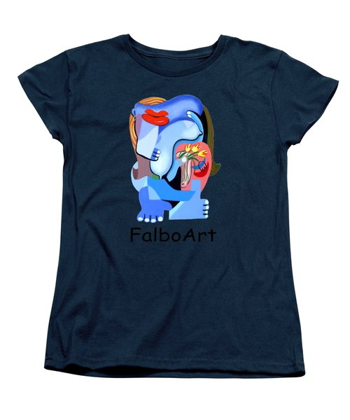 Blue Nude With Tulips Women's T-Shirt (Standard Cut)