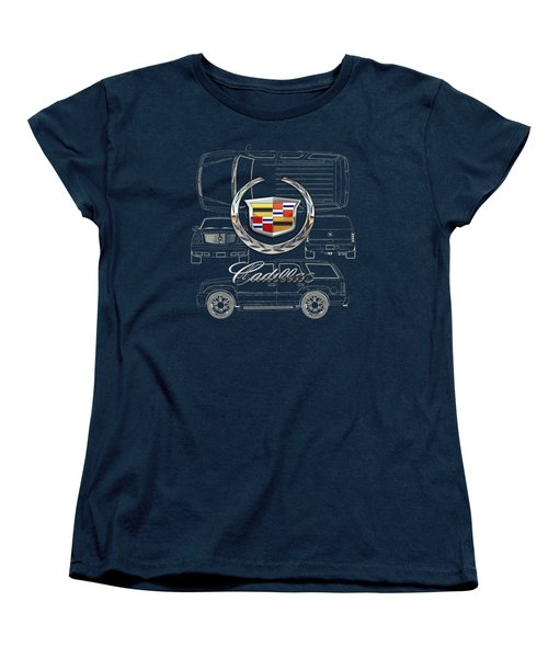 Cadillac 3 D Badge Over Cadillac Escalade Blueprint  Women's T-Shirt (Standard Cut) by Serge Averbukh