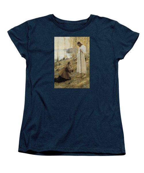 Christ And Mary Magdalene Women's T-Shirt (Standard Cut) by Albert Edelfelt
