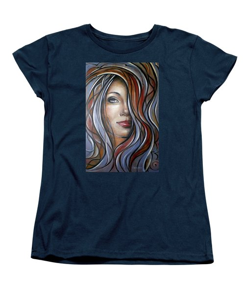 Women's T-Shirt (Standard Cut) featuring the painting Cool Blue Smile 070709 by Selena Boron
