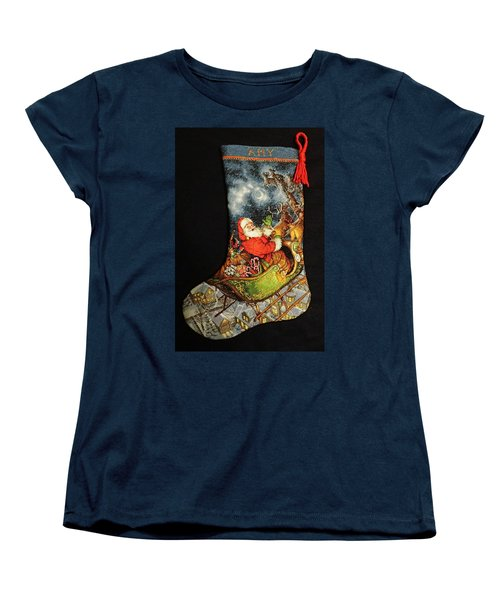 Cross-stitch Stocking Women's T-Shirt (Standard Cut) by Farol Tomson