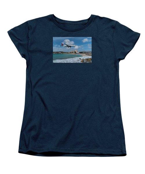 Delta Air Lines Landing At St. Maarten Women's T-Shirt (Standard Cut) by David Gleeson
