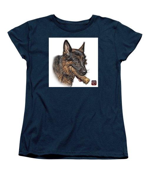 Women's T-Shirt (Standard Cut) featuring the digital art German Shepherd And Toy - 0745 F by James Ahn