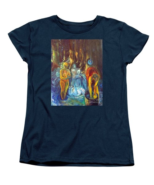 Women's T-Shirt (Standard Cut) featuring the painting In The Name Of The Mother Sister Daughter by Daun Soden-Greene