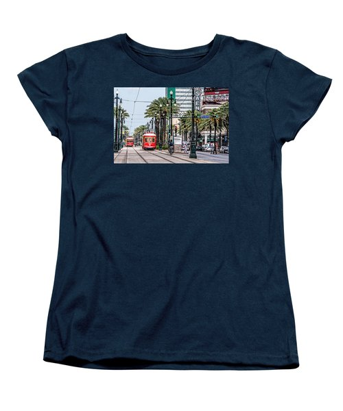 Women's T-Shirt (Standard Cut) featuring the photograph New Orleans Canal Street Streetcars by Andy Crawford