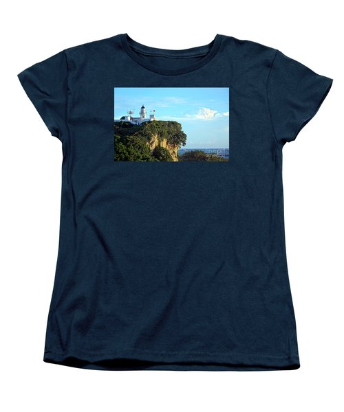 Women's T-Shirt (Standard Cut) featuring the photograph Old Lighthouse Overlooking Kaohsiung Harbor by Yali Shi