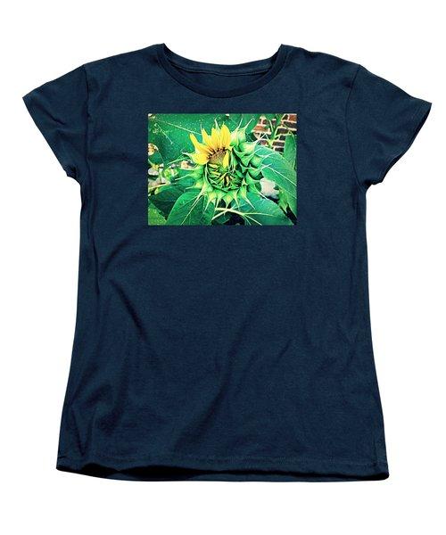 Peeping Sunflower Women's T-Shirt (Standard Cut) by Angela Annas