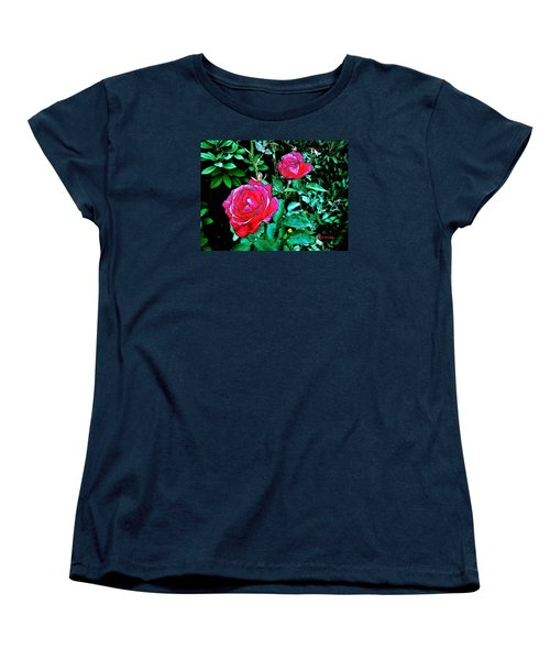 Women's T-Shirt (Standard Cut) featuring the photograph 2 Red Roses by Sadie Reneau
